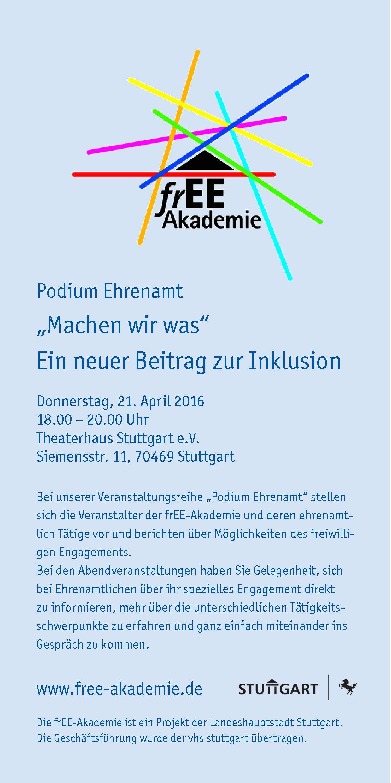 Podium Ehrenamt im Rahmen der frEE-Akademie – Machen-wir-was!
