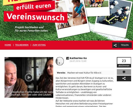 """Aktion """"Hofmeister erfüllt euren Vereinswunsch"""""""